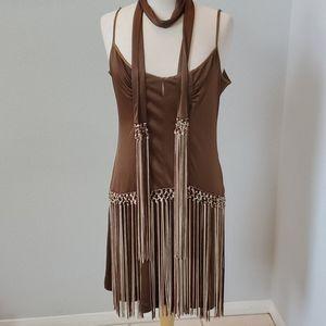 Bebe Vintage Brown Fringes Dress '20s